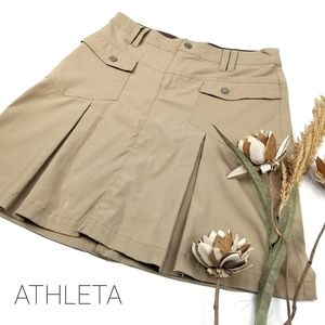 💝Athleta -NewTan High Waist Pleated Mini Skirt 4
